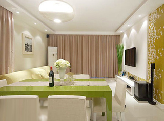 清新黄绿色 80后80平简约风三室两厅