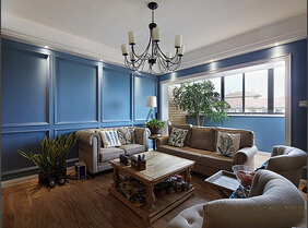 简约欧式风格小复式装修 超具魅力的蓝色调