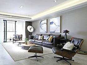 现代感十足 130平美式风格三居室效果图