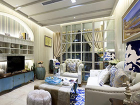 带点奢华的地中海风是什么样子  来看看这套三居室