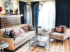 别致地毯 LA插画家的文艺地中海风格二居室
