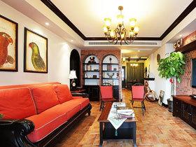 古典美式混搭三居装修 撞色美感不可言说