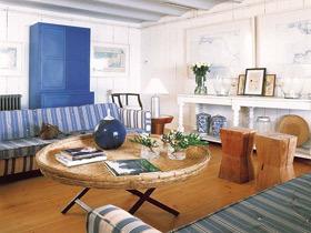 清新蓝白配地中海风情二居 家里有大海的味道