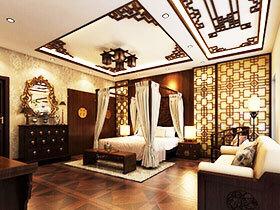 11图中式卧室吊顶装修效果图 创意设计挑大梁