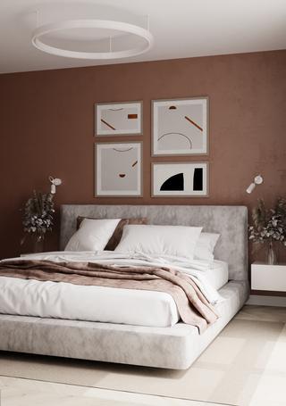72㎡极简公寓卧室装修效果图