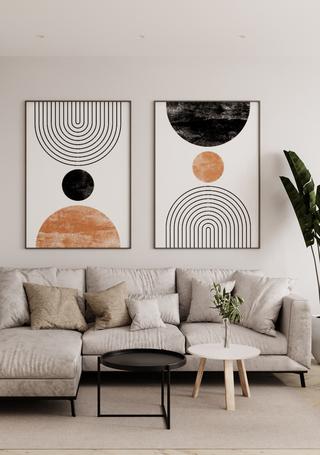 72㎡极简公寓沙发背景墙装修效果图