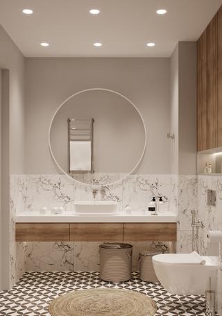 72㎡极简公寓卫生间装修效果图