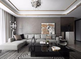 大户型现代轻奢风沙发背景墙装修效果图