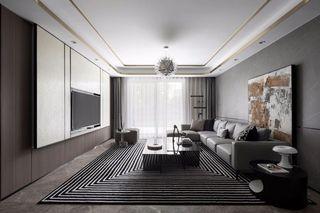 大户型现代轻奢风客厅装修效果图