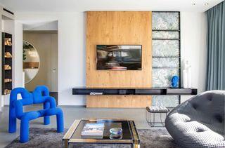 现代混搭别墅电视墙装修效果图