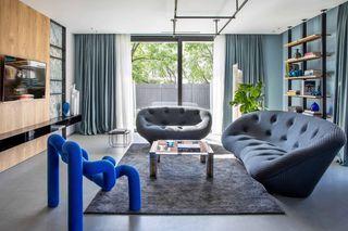 现代混搭别墅客厅装修效果图