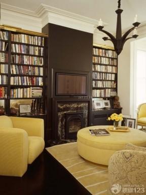 美式书柜电视墙造型设计效果图