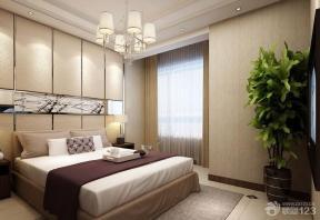 现代中式风格卧室褐色踢脚线效果图