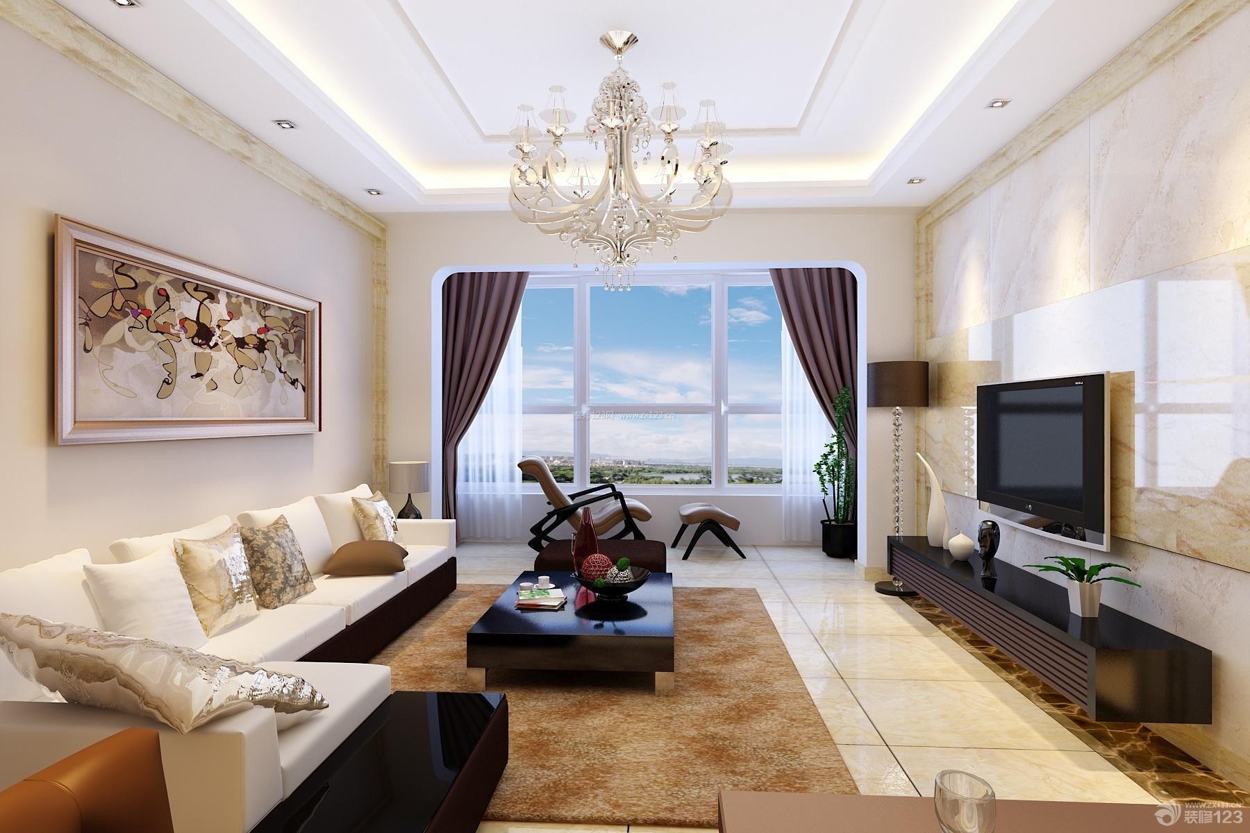 现代设计风格客厅瓷砖背景墙装修效果图