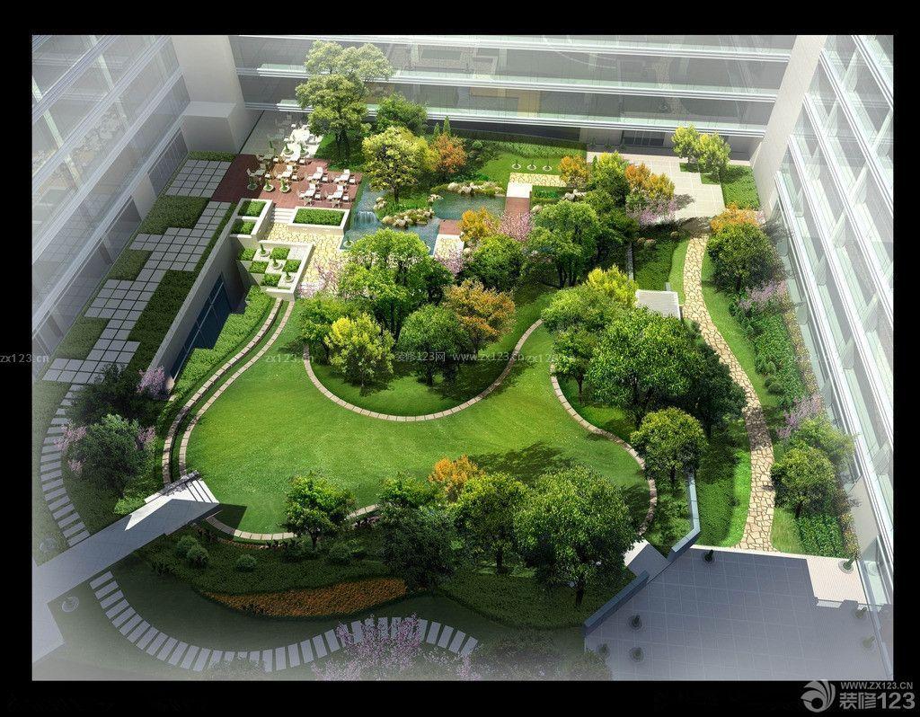 办公楼内庭屋顶花园2014装修效果图大全