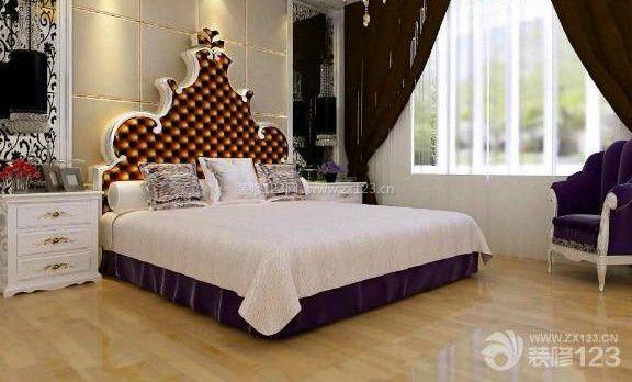欧式风格卧室棕色窗帘装修效果图
