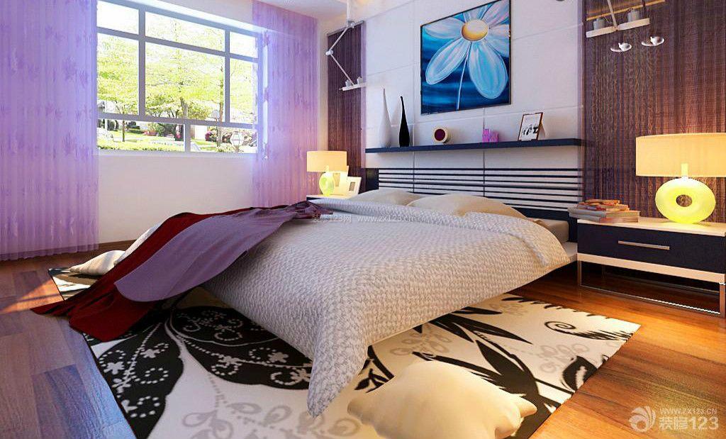 现代设计风格卧室紫色窗帘装修效果图