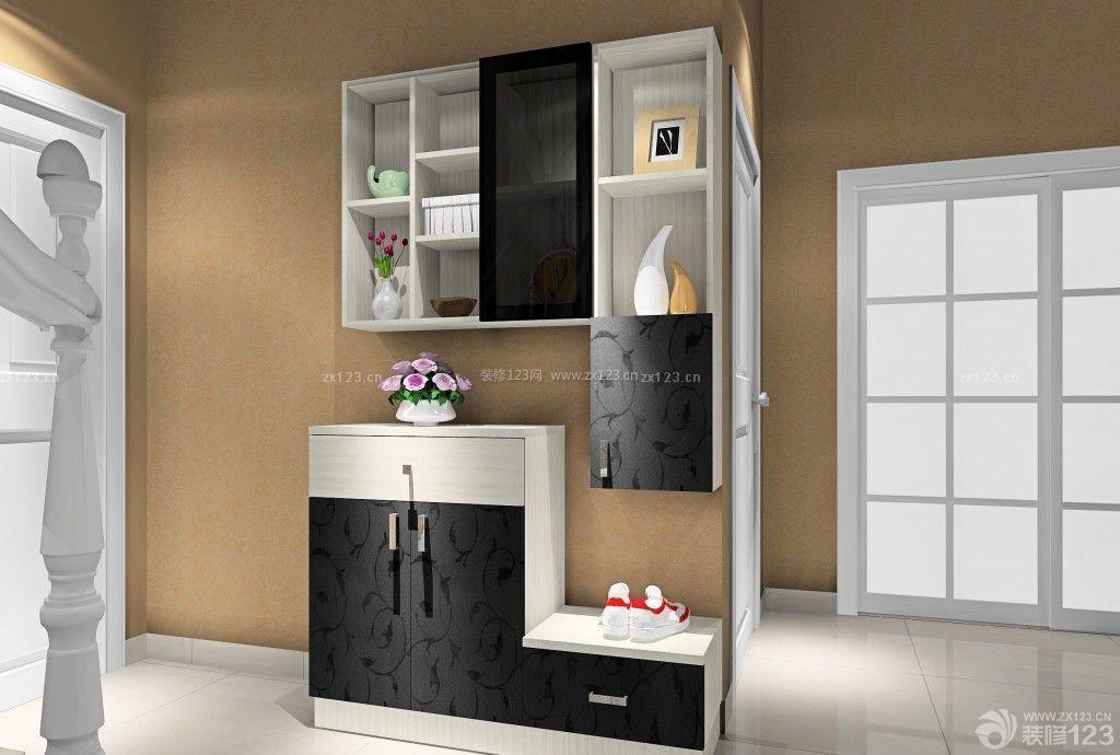 90平米复式楼黑白搭配鞋柜设计图片展示