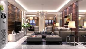 现代简约风格客厅多人沙发装修效果图