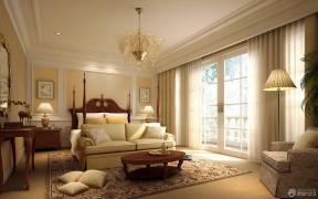 欧式卧室印花窗帘装修效果图
