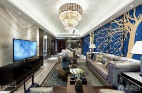 现代设计风格客厅沙发背景墙样板间