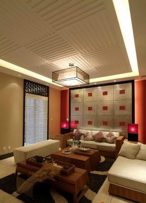现代中式风格客厅木箱茶几装修效果图