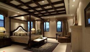简约欧式卧室四柱床装修效果图