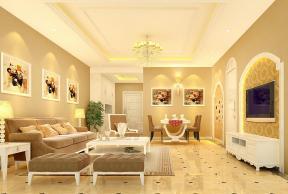 简欧式客厅多人沙发装修效果图