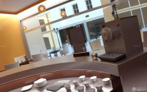 沉稳室内60平奶茶店吧台装修效果图