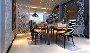 餐厅欧式花纹壁纸装修效果图