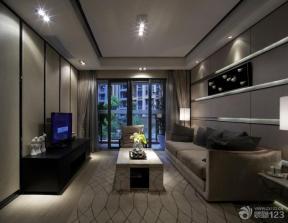 现代简约风格客厅墙面壁纸装修效果图