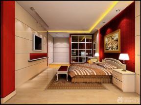 现代简约风格卧室背景墙壁纸样板间