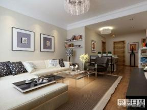 现代简约风格客厅转角沙发装修效果图