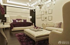 后现代风格卧室真皮茶几装修效果图