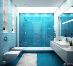冷色调浴室玻璃推拉门隔断设计效果图