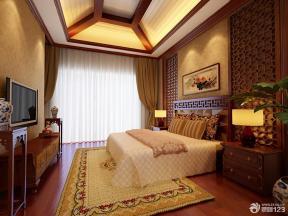 新中式风格卧室床头背景墙装修效果图