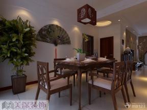 中式餐厅实木餐桌装修效果图