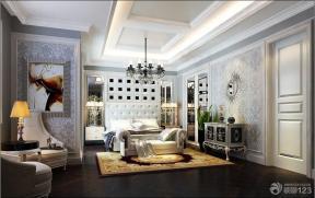 现代欧式风格卧室床头背景墙装修效果图