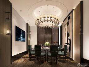 中式仿古装修时尚餐厅吊灯设计图片
