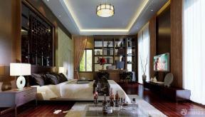 中式卧室木质背景墙装修效果图