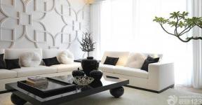 现代风格客厅石膏板背景墙图片