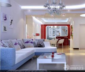 现代简约风格客厅珠帘隔断效果图