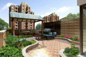 简约中式阳台小花园效果图