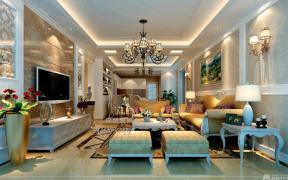 现代简约欧式风格客厅装修样板间图片