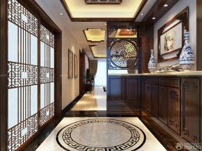 中式风格门口实木鞋柜装修效果图