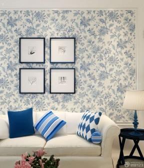 美式乡村风格客厅花藤壁纸效果图