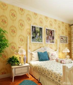 美式乡村风格卧室家装壁纸效果图