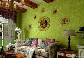 混搭清新美式乡村风格壁纸样板间