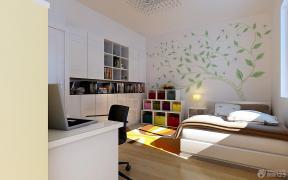 简约现代卧室床头背景墙装修效果图