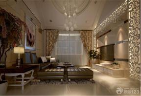 现代客厅镜面雕花装修设计效果图